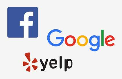 Facebook, Google, and Yelp Reviews